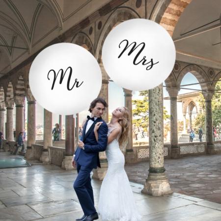 "Balon gigant ""Mrs"", alb (diametru aprox. 1 metru)1"