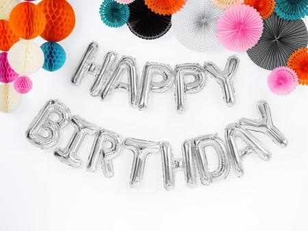 Balon Happy Birthday, 340x35cm, argintiu [0]