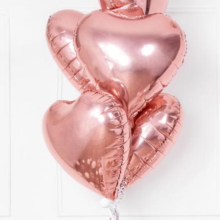 Balon roz auriu in forma de inima 45cm0