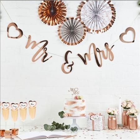 Banner litere Mr&Mrs (auriu rose) 2m lungime0