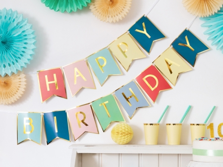 Banner Happy Birthday, mix, 15 x 175 cm0