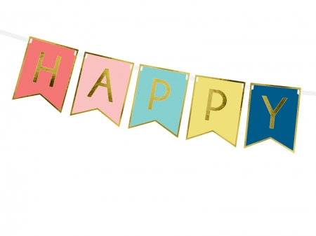 Banner Happy Birthday, mix, 15 x 175 cm2