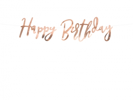 Banner Happy Birthday, rose gold, 16.5x62cm3