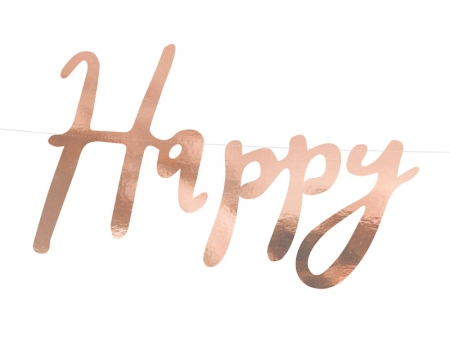 Banner Happy Birthday, rose gold, 16.5x62cm4