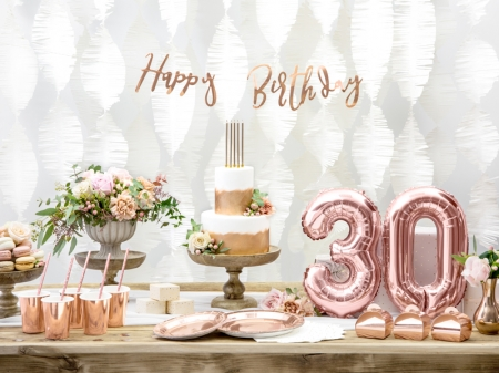 Banner Happy Birthday, rose gold, 16.5x62cm5