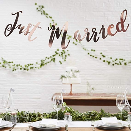 Banner Just Married din hârtie oglindă [0]