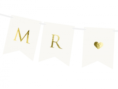 Banner Mr Mrs, alb, 15 x 85 cm2