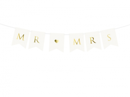 Banner Mr Mrs, alb, 15 x 85 cm1
