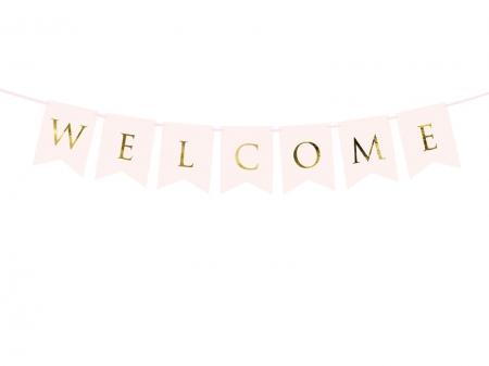 Banner Welcome (Bine ati venit!), roz deschis, 15 x 95 cm1