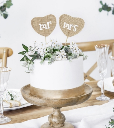 Cake Topper din panza Mr Mrs, 18.5cm (1 pach / 2 buc.)0