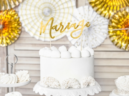"Cake topper ""Mariage""  (auriu, 22.5cm)1"