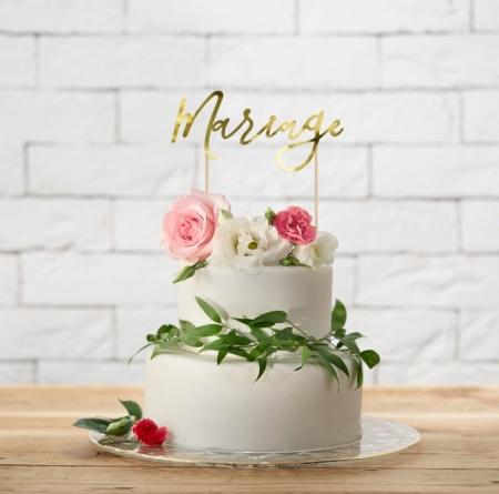 "Cake topper ""Mariage""  (auriu, 22.5cm)0"