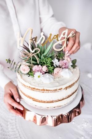 "Cake topper ""Mariage""  (auriu, 22.5cm)4"