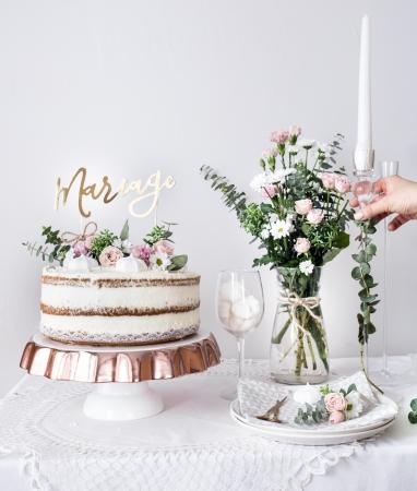 "Cake topper ""Mariage""  (auriu, 22.5cm)3"