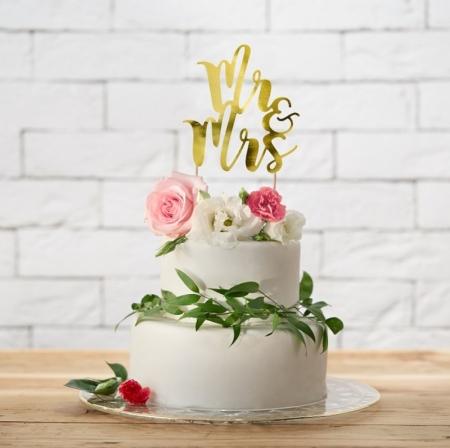 Cake topper Mr&Mrs, auriu 25.5cm0