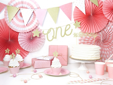 Cake topper prima aniversare, auriu4