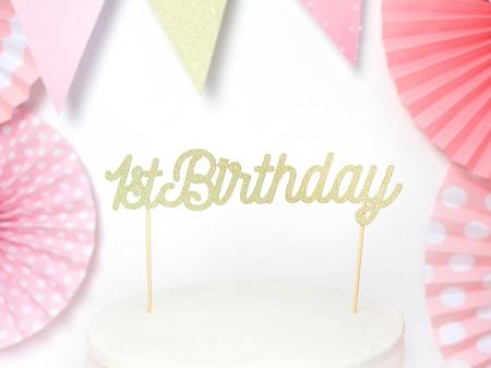 Cake topper prima aniversare, auriu2