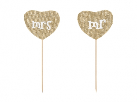 Cake Topper din panza Mr Mrs, 18.5cm (1 pach / 2 buc.)2