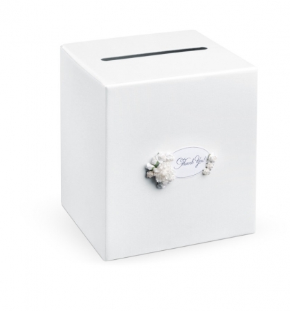Casuta din carton alb perlat cu flori albe si inscriptia: Thank you! 24 x 24 x 24cm0