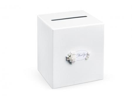 Casuta din carton alb perlat cu flori albe si inscriptia: Thank you! 24 x 24 x 24cm1