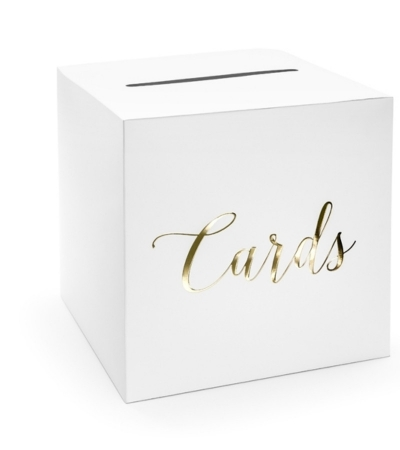 Casuta dar nunta inscriptie aurie Cards,  24 x 24 x 24 cm0