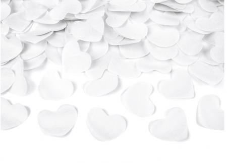 Confetti cannon inimioare albe, 40 cm1