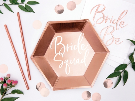 "Set Farfurii carton rose gold ""Bride squad"", 23cm (1 pach / 6 buc.)1"