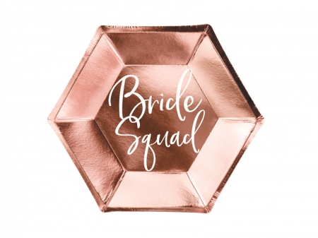 "Set Farfurii carton rose gold ""Bride squad"", 23cm (1 pach / 6 buc.)0"