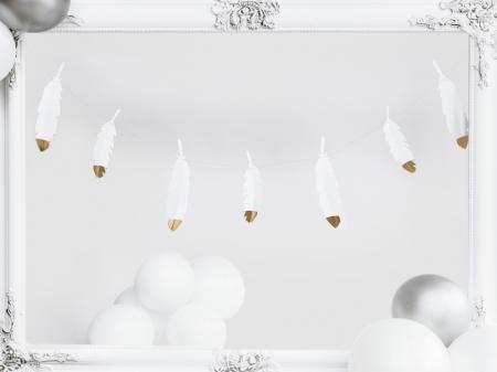 Ghirlanda pene albe cu capete metalice aurii, 1.6 m lungime2