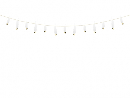 Ghirlanda pene albe cu capete metalice aurii, 1.6 m lungime5