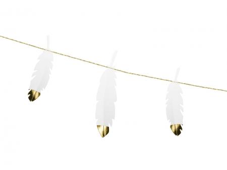 Ghirlanda pene albe cu capete metalice aurii, 1.6 m lungime1