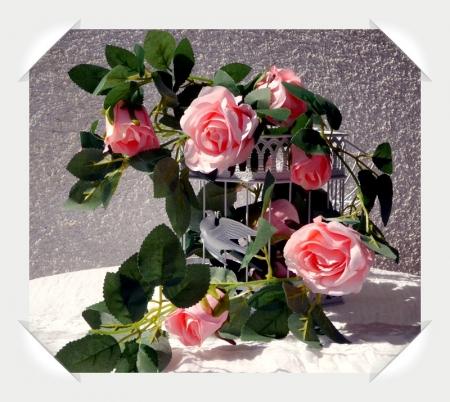 Ghirlanda trandafiri roz (1.75m)3