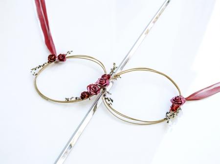 Set inele decorative din ratan culoare rosu inchis (decor frontal si 4 manere usa)2