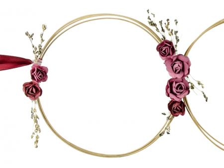 Set inele decorative din ratan culoare rosu inchis (decor frontal si 4 manere usa)0