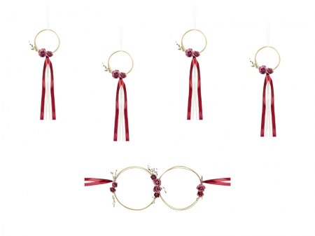Set inele decorative din ratan culoare rosu inchis (decor frontal si 4 manere usa)1