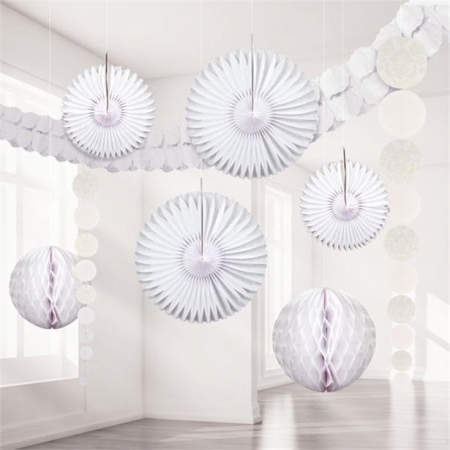 Set decoratiuni suspendate Alb Damasc0