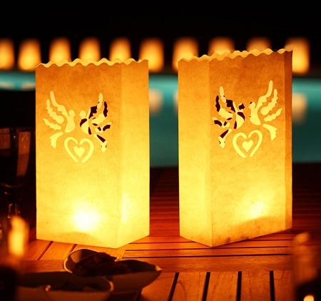 Set lampioane pentru lumanari, decupaj decorativ inima si porumbei, 15 x 9 x 26cm (1 pac / 10 buc)0