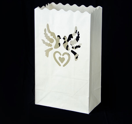 Set lampioane pentru lumanari, decupaj decorativ inima si porumbei, 15 x 9 x 26cm (1 pac / 10 buc)6