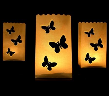 Set Lampioane pentru lumanari cu perforatii in forma de fluturasi, 15 x 9 x 26cm (1 pach / 10 buc)0