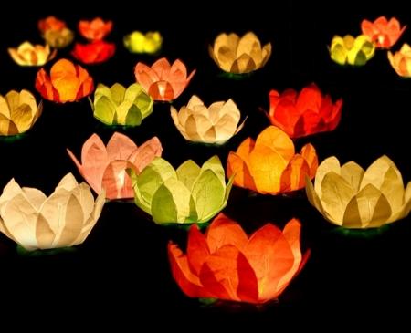 Set Lanterne plutitoare lotus, mix de culori, 29cm (1 pach/6 buc)0