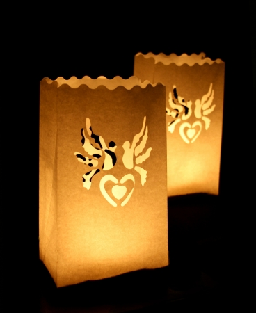 Set lampioane pentru lumanari, decupaj decorativ inima si porumbei, 15 x 9 x 26cm (1 pac / 10 buc)2