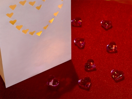 Set lampioane pentru lumanari, decupaj Inima decorativa, dimensiune 15x9x26 centimetri. (1 pach / 10 buc)3
