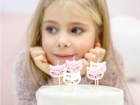 Lumanarele zi de nastere Cat, pentru fetite, mix, 2cm, 6 buc.1