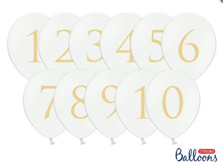 Numere masa Baloane 30cm, Pastel Pure albe (1 pach / 11 buc.)3