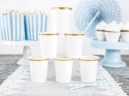 Set pahare de carton alb cu margine aurie, 260 ml (1 pach / 6 buc.)0