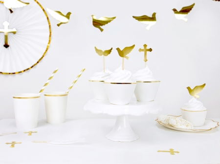 Set pahare de carton alb cu margine aurie, 260 ml (1 pach / 6 buc.)2