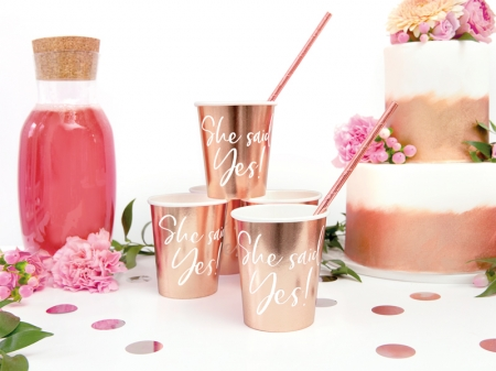 Pahare de hartie She said yes! rose gold, 220ml (1 pach/ 6 buc.)0