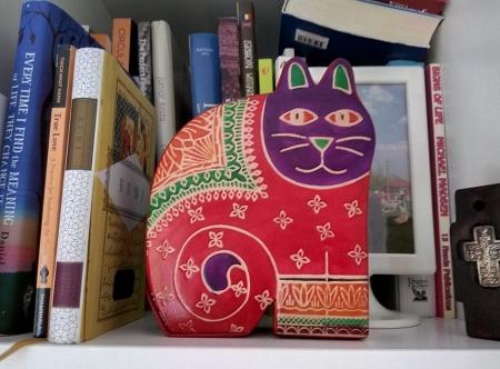 Pusculita in forma de Pisica (piele imprimata)1