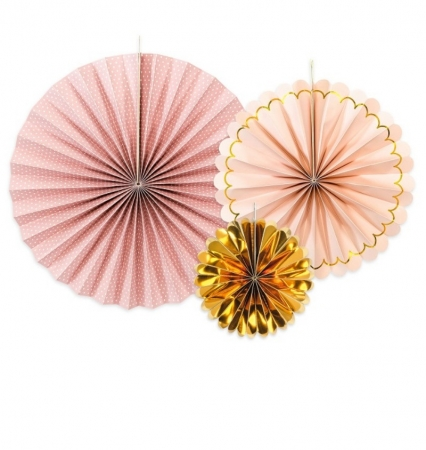 Evantaie decorative, mix de culori roz-auriu0