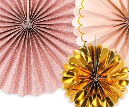 Evantaie decorative, mix de culori roz-auriu2